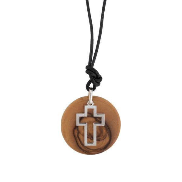Anhänger Kreuz auf Olivenholz