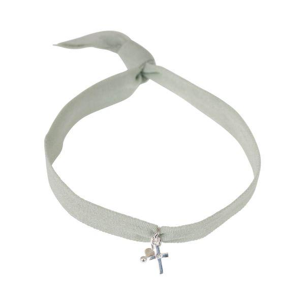 Textil-Armband Kreuz mit Perle