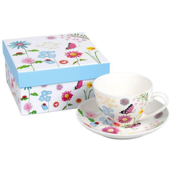 Tasse Blume blau mit Geschenkbox