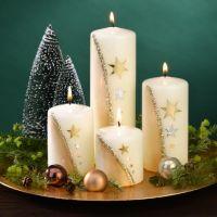 Adventskranzkerzen Set weiß/gold