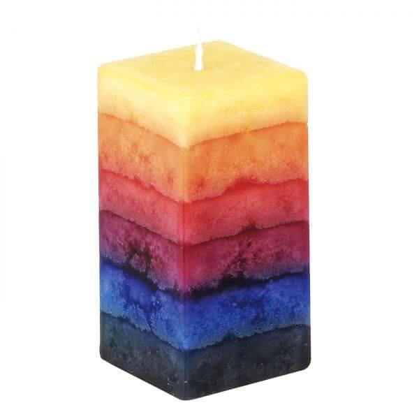 5026 Kerze regenbogen eckig