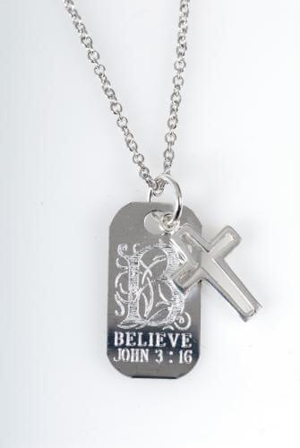 Halskette Believe und Kreuz