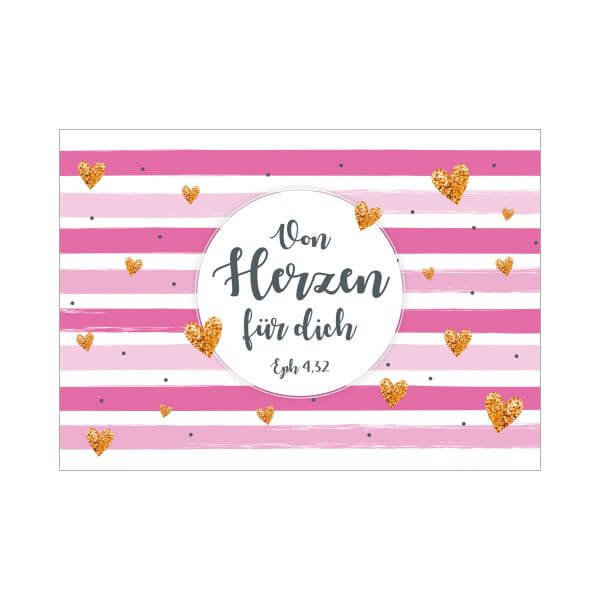 Postkarte Streifen pink