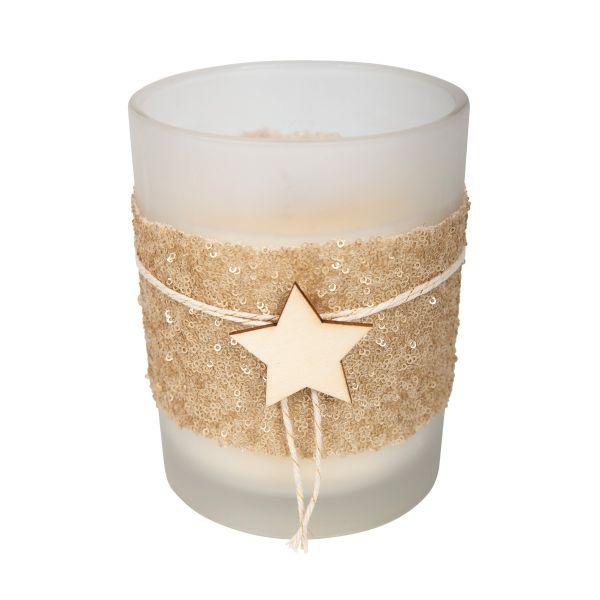 Kerzenglas Holzstern