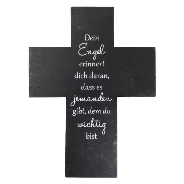 Schiefer Kreuz Engel