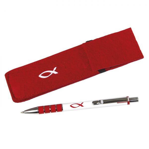 Kugelschreiber in Filzetui rot