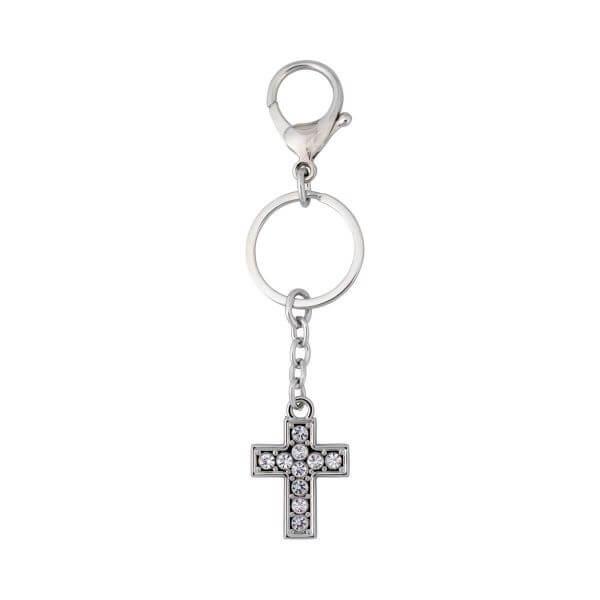 Metall-Kreuz mit Steinchen besetzt