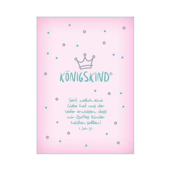 Postkarte Koenigskind rosa