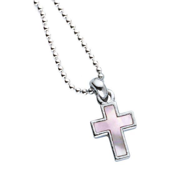 Halskette Perlmutt Kreuz